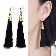 Long Black Tassel Invisible Clip on Earrings Dangle Gold Fringe Clip-on Earrings