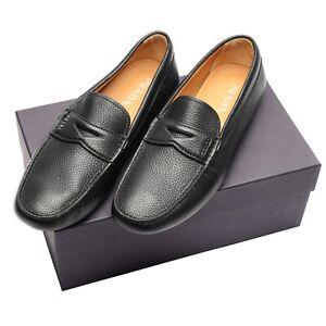 New  Prada Logo Saffiano Leather Driving Loafers Black Mens 11.5 US 10.5 UK $699