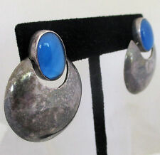 Modernist MEXICO Sterling Silver 925 Blue Chalcedony Dangle Earrings