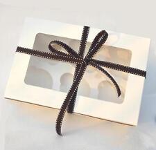 10 x  White Gloss Muffin Cupcake Box  With 6 hole insert  * 24cm x 16cm x 7.5cm