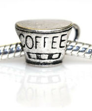 Good Morning Coffee Cup Charm European Bead Compatible for Most European Snake C