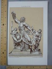 Rare Antique Original VTG Acoetes Son Laocoön Mythology Illustration Art Print