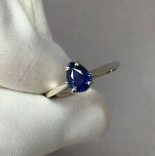 IGI Certified UNHEATED Deep Blue Ceylon Sapphire Pear Solitaire White Gold Ring