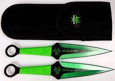 "2pc Green & Black 9"" Zombie Biohazard Throwing Knife set w/ Sheath Dagger Kunai"