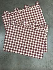 """Set Of 2 Plaid Tab Top Curtain Panels 47"""" W x 61"""" Red Country"""
