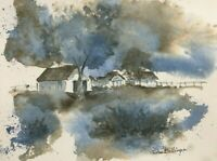 John Billings Original 8x10 Watercolor Painting Farm Trees Abstracted