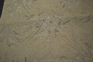 Japanese Woollen Fabric - Mottled green fabric with long grass print 616