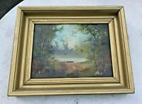PRIMITIVE ANTIQUE COUNTRY FOLK ART MOUNTAIN LAKE LANDSCAPE OIL PAINTING CANVAS