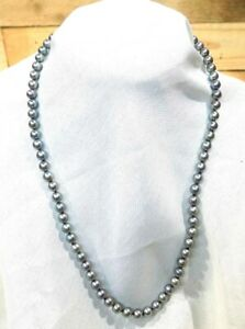 """Fine 14k Gold NATURAL Tahitian Black Peacock Pearl Necklace 18"""""""