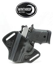 Sig Sauer P938 No Laser OWB Shield Leather Holster LEFT Hand Black