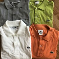 Lacoste Lot Polo size 5 Large four polo shirts gray white salmon lime green