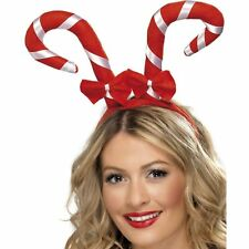Candy Cane Bows Red White Christmas Headband Ladies Womens Fancy Dress Accessory