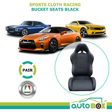 Autotecnica Sports Bucket Comfort Cloth Seats Pair (2) Black Racing ADR Approved