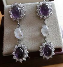 925 STERLING SILVER PURPLE AMETHYST & MOONSTONE LONG DROP DANGLE EARRINGS