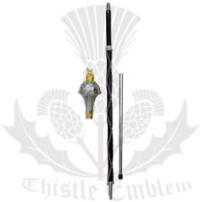 """New Drum Major Mace Stick  Embossed Lion & Crown Gold Head 60"""" free carrying Bag"""