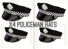 Bulk 4X Lots Adult Policeman Peak Cap Police Cop Hat Fancy Dress Costume