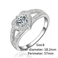 Hot Fashion 925 sterling silver Women Crystal Wedding Bridal Lady heart Ring