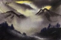 Original (6x4 inch) Painting ' The Mountains ' by Bill Lupton