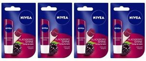 Nivea Lip Care Fruity Shine, Blackberry, 4.8g (pack of 4) free shipping world