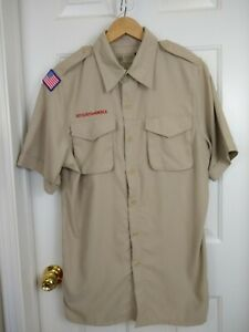 Vented Men's Large Boy Scouts of America BSA Official Uniform Shirt Polyester S