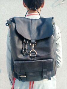 Handmade Men's Genuine Black Leather Custom Design backpack rucksack