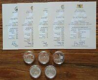 BRD 5 x Medaillen Sonderprägung versilbert Die stattlichen Prägestätten 2014 kpl