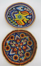 "2 VTG Mexican beaded Gourd Bowl Peyote Native Mexican Art · 7"" Diameter"