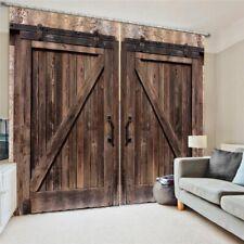 2 Panel Set Wooden Barn Door Window Curtains Home Bedroom Window Drapes Decor