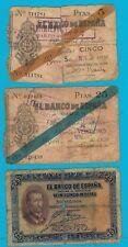 LOTE de 5 billetes DISTINTOS año 1926 Francisco Xavier. Gijón y Bilbao año 1936