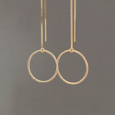 Gold Fill Circle Box Chain Threader Earrings also in Sterling Silver