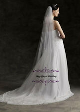 1 Tier Cathedral Cut/No Edge Wedding Bridal Veil Plain Swarovski Crystal Pearls