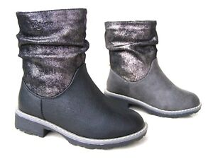 NEW GIRLS KIDS INSULATED WARM BLACK SPARKLY ZIP BOOTS WINTER FURRY SCHOOL SHOES