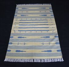 Hand Woven Blue Color Cotton Area Rug Striped Designer Home Decorative Rug
