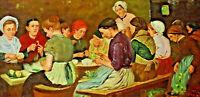 Signiert Reber ? - Frauen beim Gemüse schneiden nach Max Liebermann