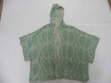 Roxy Women Dawn Breakers MINT Green S/s Hoodie Poncho Sweater Sz Medium