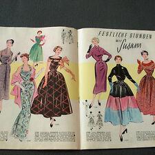 Modezeitschrift SUSANN MODENBLATT 12/1953 - 2 Schnittbogen 50er Jahre ABENDMODE