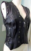 Harley Davidson Leather Vest Vintage Conchos Fringe Border Springer Hawk Small