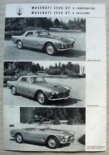 MASERATI 3500 GT Sports Car Sales Specification Leaflet c1960