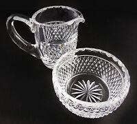 WATERFORD ALANA Pattern IRISH CRYSTAL CUT GLASS Cream Pitcher & Sugar Bowl SET