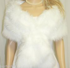 SNOW WHITE  FAUX FUR WRAP  STOLE SHAWL  BOLERO  NWT !!