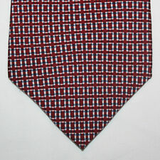 NEW Nautica Silk Neck Tie Burgundy with Light Yellow and Blue Pattern 423