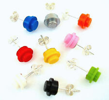 Round Stud Earrings made with LEGO bricks valentines day silver plated butterfly