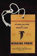 1987 ATLANTA FALCONS  vs  DETROIT LIONS  PRESS PASS Ticket