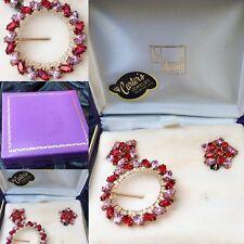 Antique Original Box B David Pink Red Rhinestone Round Brooch Earrings Set