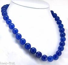 Women's 12mm Natural Sapphire Blue Jade Gemstone Beads Necklace 18'' Jewelry