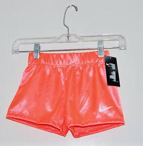 NWT Nike Little Girls Mango Orange Swoosh Logo Silky Gym Sport Shorts sz 5 6 6X