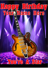 Semi Acoustic Guitar cptmi1 Happy Birthday Card A5 Personalised Greeting Cards