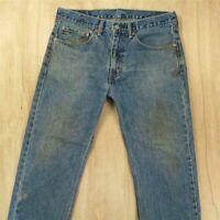 faded & distressed LEVI's 505 fit denim jeans 34 x 29 tag medium blue grunge