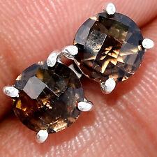 Smoky Topaz - Brazil 925 Sterling Silver Earrings Stud Jewelry AE182122