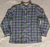 LL BEAN WOMENS FLANNEL PLAID SHERPA LINED BUTTON DOWN SIZE: XS